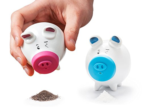 Salt and Pepper Shakers Set - Italy Design Porcelain Dinnerware Keeper Spice - Containers for Storage Ground Seasoning - Fun Unique Kitchen Accessory - 2 Shaker Jolly Pig (Blue Pig Salt)