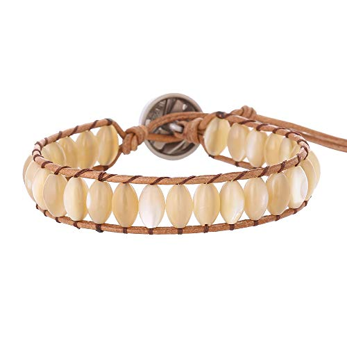 IUNIQUEEN Leather Natural Stone 1 wrap Bead Adjustable Women Girl Bracelet Collection (Shell Pearl)