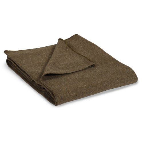 Stansport 1244 Wool Blend Camp Blanket, Olive Green