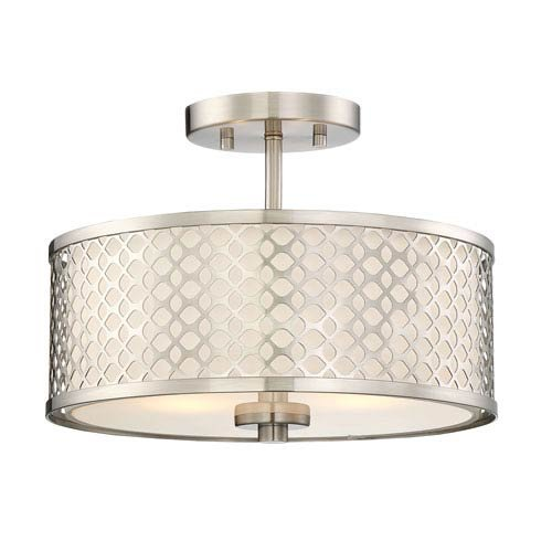 Flush Two Light (251 First Nicollet Brushed Nickel Two-Light Drum Semi-Flush Mount)