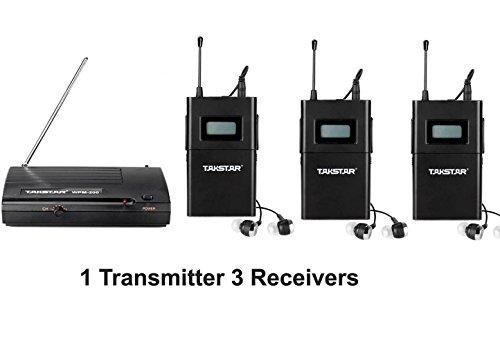 SeeSii Takstar WPM-200 UHF Wireless Monitor System Stereo In-Ear Funkkopfhörer&Kopfhörer Sender & Empfänger Set Ohrhörer 50M Reichweite mit einem Geschenk (WPM-200+Receiver*3)
