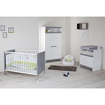 Fanny chambre bébé complete 3 pieces lit armoire commode a langer finition