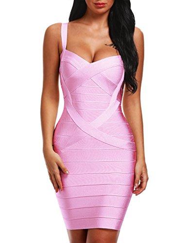 Bqueen Women's Spaghetti Strap Bodycon Bandage Dress BQ1636-1 (XS, Pink)
