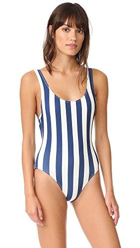 Solid & Striped Women's The Anne Marie One Piece, Navy/Cream Stripe, Medium