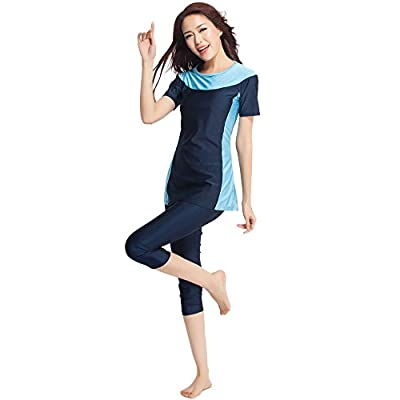 Ababalaya Womens' Color Block Moderate Cover 2 Piece Swimsuit Burkini at Amazon Women's Clothing store
