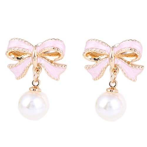 (Fashion Clip on Earrings Simulated Pearl Butterfly Bow Earrings Charm Girl Gold Plated Banquet)