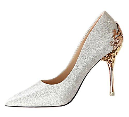 Minetom Damen Elegant Schuhen Mit Hohen Absätzen Sexy Spitze Schuhe Hochzeit Abend Parteischuhe Silber 37