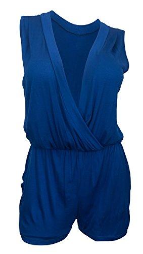 eVogues Plus size Deep V-Neck Sleeveless Romper Royal Blue 17117 - 3X (Plus Size Rompers)