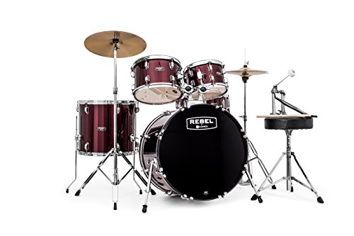 - MAPEX RB5294FTCDR Rebel 5-Piece Drum Set with Hardware and Cymbals Dark Red with 22-Inch Bass Drum