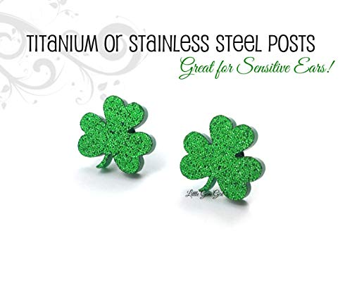 Sparkly Green Shamrock 3 Leaf Clover Earrings in Titanium or Stainless Steel - Luck of the Irish ()