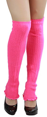 Leg Acrylic Warmers (ToBeInStye Women's Ribbed Acrylic Footless Leg Warmers Color: Hot Pink)