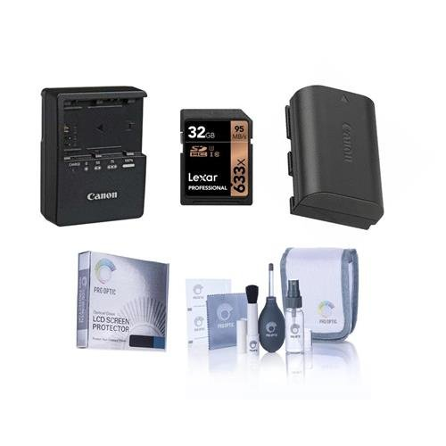 Canon EOS-70D Accessory Bundle - Consists of Canon LP-E6 N Li-Ion Battery, LC-E6 Compact Battery Charger, Screen Protector, Lexar 32GB Pro UHS-I SDHC U3 Card, Cleaning Kit