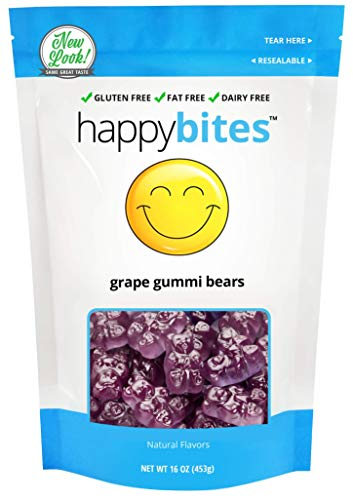 Happy Bites Grape Gummi Bears - Gluten Free, Fat Free, Dairy Free - Resealable Pouch (1 Pound)