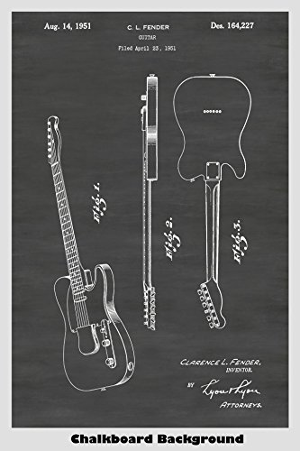Fender Telecaster Guitar Poster Patent Print Art Poster: Choose From Multiple Size and Background Color Options