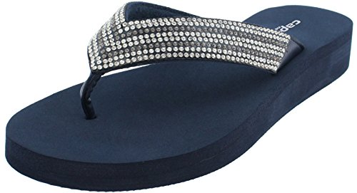 Ladie Navy Blue Rhinestone - Capelli New York Ladies Fashion Flip Flops with Rhinestone Trim Navy Combo 6