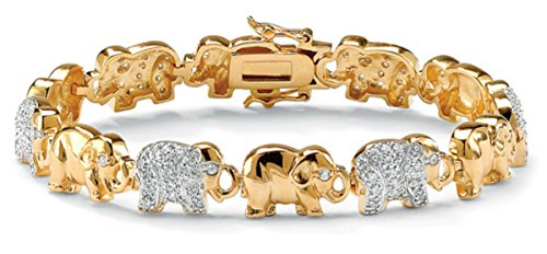 Beautiful Palmbeach Cz 14k Two-tone Gold Overlay and Cubic Zirconia Stone Elephant Link Bangle Bracelet
