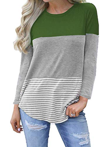 kigod Womens Casual Loose Long Sleeve Color Block T-Shirt Tops Back Lace Striped Round Neck Top Blouse (Army Green, Medium)