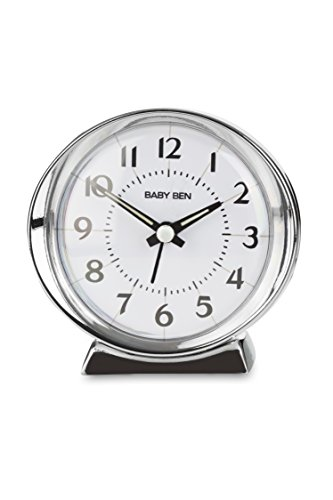 Traditional WestClox 1964 Baby Ben Classic Quartz Accuracy Battery Operated Alarm Clock - Baby Ben Battery Operated Loud Bell Alarm Clock Metal Bezel, Base & Hands Quartz Accuracy. Silver Tone - clocks, bedroom-decor, bedroom - 41Lhv%2BA2rYL -