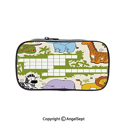 Two Big Pockets for Executive Fountain Pen,Colorful Crossword Game for Children Wild Jungle Safari Animals Grid Decorative Multicolor 5.1inches,Multi-Functional 72 Slots Colored Pencil Case