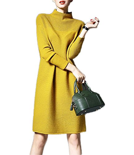 Henraly New Sweater Dresses For Women Winter Plus Size M-5XL Long Loose Knitted Sexy Bodycon Robe Dress Yellow5XL
