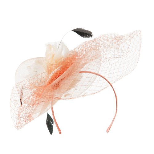 Multi Colored Feather Fascinator with Circle Shaped Net - Champagne OSFM