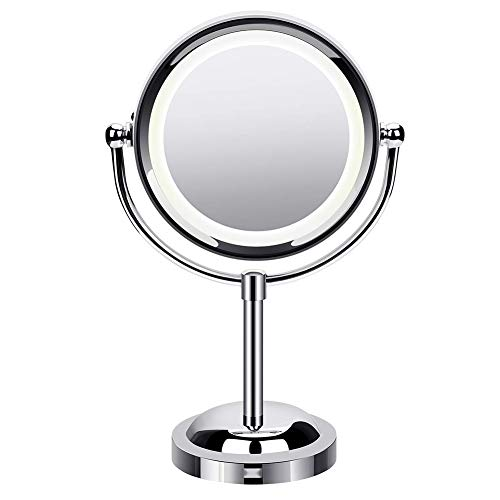 MQB Lighted Makeup Mirror, 3x/1x Double Sided LED Vanity Mirror, Magnifying, 360° Rotation Swivel...