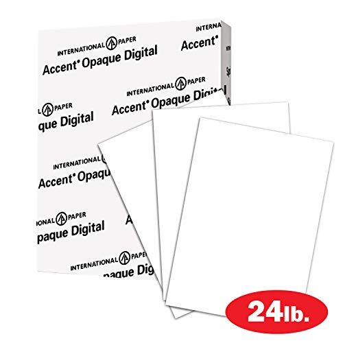 Accent Opaque 24lb White Paper, 60lb Paper Text, 89 gsm, Letter Size, 8.5 x 11 Paper, 97 Bright, 1 Ream / 500 Sheets, Vellum Finish, Text Weight Heavy Paper (109447R) 24 Lb Translucent Vellum Paper