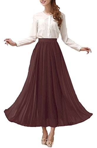 Afibi Womens Chiffon Retro Long Maxi Skirt Vintage Dress (Medium, Brown)