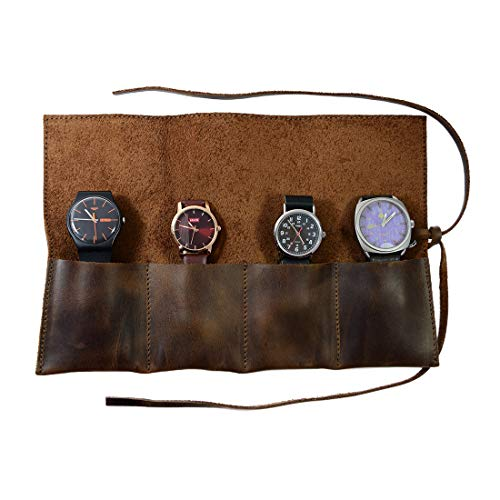 Hide & Drink Rustic Leather Travel Watch Roll Organizer Holds Up to 4 Watches Handmade Bourbon Brown (Leather Watch Case)