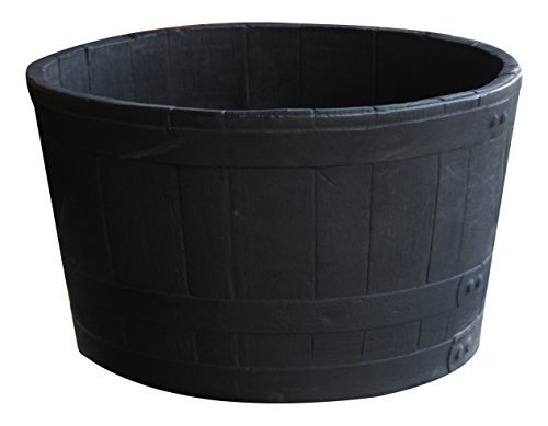 Wooden Large Planter - RTS Home Accents 5600-00100F-80-81 Polyethylene Barrel Planter, Black