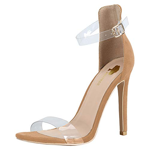 Party Pumps Strap Wedding Office BIGTREE Heels Clear Business Dress Shoes Women Buckle Ankle Transparent Camel High wx60f8q4