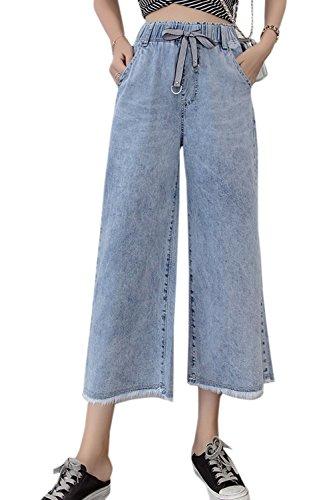 Blue Baggy Cheville Simgahuva Taille lastique Pantalons Trs Haute De La Jeans Jambe PwUxUq5B