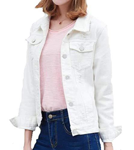 Manica Jacket Chic Giubbino Di Moda Slim Jeans Vintage Cappotto Denim Donna Cute Corto Autunno Casual Fit Eleganti White2 Primaverile Bavero Lunga Outwear d0qwYYZB