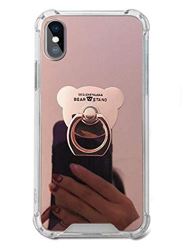 修復最悪シャッフル対応iPhone XR XS Max ケース 可愛い 女 おしゃれ シンプル ミラー 鏡面デザイン 強化ガラス 全面クリア TPUバンパー アイフォン XR XS Max 携帯電話保護カバー (Rose Gold, iPhone XR)