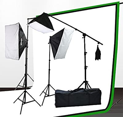 Fancierstudio UL9004SB-69BWG 2000 Watt Photo Studio Lighting Kit With 6-9 Feet Muslin Backdrop and Background Stand-Black White from JRFOTO