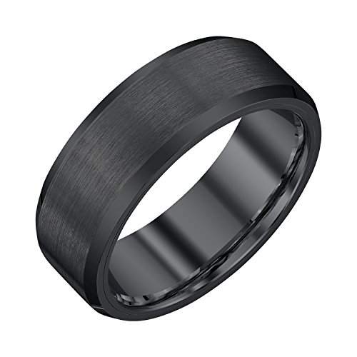 AX Jewelry Mens 8mm Black Tungsten Band with Satin Finish