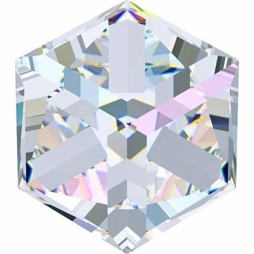 4841 Swarovski Fancy Stones Cube | Crystal AB Comet Argent Light | 8mm - Pack of 2 | Small & Wholesale Packs | Free (Ab Swarovski Square Beads)
