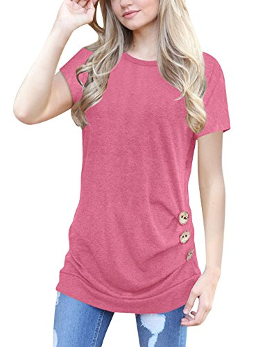 Ladylala Womens Casual Round Neck Short Sleeve T-Shirt Button Trim Solid Color Blouse Tunic Top (Large, Pink) by Ladylala