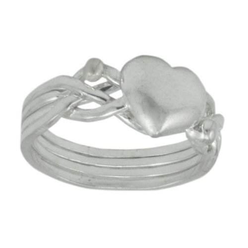 WithLoveSilver Solid Sterling Silver 925 Celtic Puzzle Heart Ring (Sizes: 4, 5, 6, 7, 8, 9, 10, 11, 12) (7) (Claddagh Puzzle Ring)