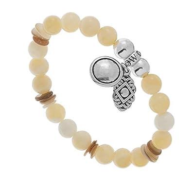 ecbea8bf4ce4e Blow Bijoux Bracelet Pendentif et Jade Sable (Beige/Argent): Amazon ...