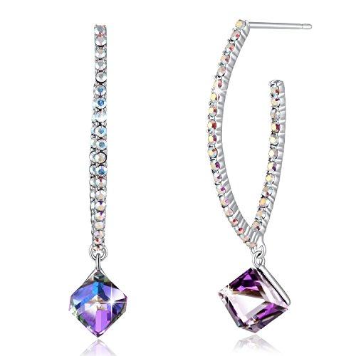 Change Color Earrings PLATO H Woman Fashion Earring Crystal Drop Earring Swarovski Element Earrings For Women Ocean,Purple