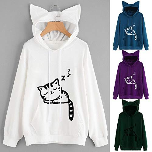 Hoodie Womens Hooded Sleeve Tops Blue Blouse Sweatshirt Cat Long Pullover qtpr64t