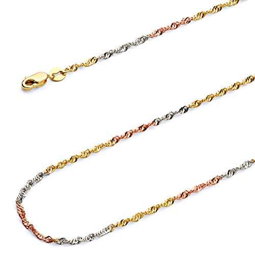 GoldenMine Fine Jewelry Collection 14k Tri Color Gold 1.8mm Singapore Chain Necklace with Spring Ring Clasp - 16