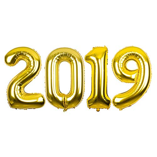 (40 Inch Gold 2019 Number Foil Mylar Balloons,2019 Balloons Decorations Year Eve Festival Party)