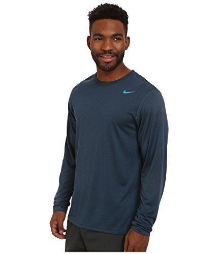 9272361a Nike Mens Legend Poly Long Sleeve Dri-Fit Training Shirt Squadron Blue/Emerald  377780-460 Size Large - Buy Online in UAE. | Apparel Products in the UAE ...