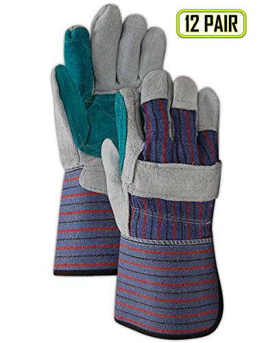 MAGID TG255IEDP Top Gunn Double-Palm Split Leather Glove with Gauntlet Cuff and Inside Elastic, Mens, Blue (12 Pair) ()