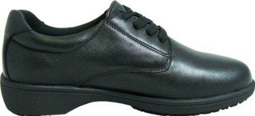 Genuine Grip Footwear Women's Slip-Resistant Oxford Casual,Black Soft Full Grain Leather,US 7 W