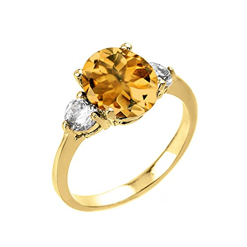 - Elegant 14k Yellow Gold Oval Shape Citrine with White Topaz 3-Stone Engagement Ring (Size 7)