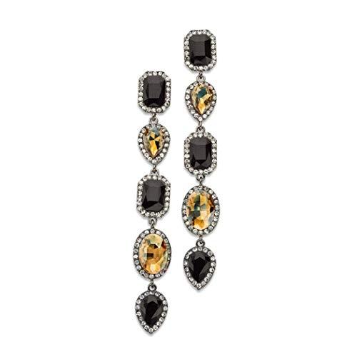 Black Cream Rhinestone Crystal Earrings Long Elegant Gemstone Gold Plated Women's Beautiful Bold and Classy Earrings