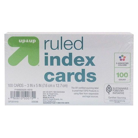 Ruled Index Cards 3 in. x 5 in. - Multicolor - 100... TRG